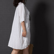 New Women Cotton Linen Half Sleeve Gown Loose Dress Plus Size  Retro Style