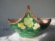 Ceramic Woven Green/ Pink Basket- Floral- Haldron Group 1983-Label Unused- Japan