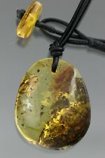 Fossil GNAT & DEBRIS Genuine BALTIC AMBER Leather String Pendant 10.1g 201015-6