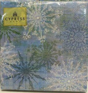 "20 Count Cypress 10"" Paper Napkins Christmas Blue White Snowflake Party Fun"