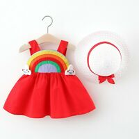Baby Kids Girls Sleeveless Rainbow Print Princess Dress+Hats Set Outfits Clothes