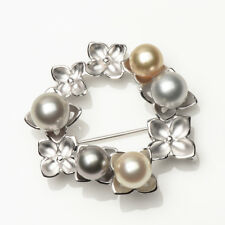 Big Real South Sea Pearl Tahitian Pearl Bouquet Brooch Pin 925 Sterling Silver