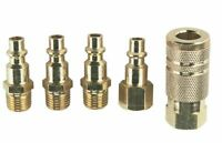 5 PIECE Solid Brass Quick Coupler Set Air Hose Connector Fittings 1/4 NPT Tools