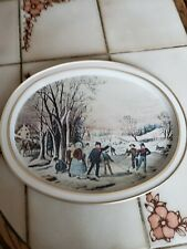 """Currier and Ives Tray Winter Pastime Serving Tray Vintage 11"""" X 14"""""""