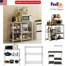 Multifunctional Kitchen Rack Microwave Oven Holder Floor Shelf Storage Cupboards