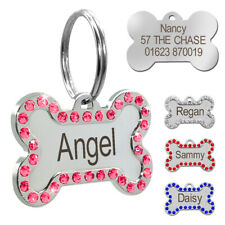 Bone Rhinestone Personalized Dog Tag Custom Pet Cat ID Tags Stainless Steel