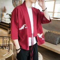 Japanese Men Embroidery Kimono Coat Jacket Ethnic Outerwear Retro Loose Cardigan