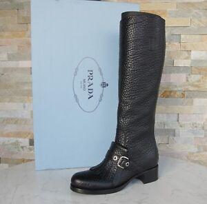 PRADA Gr 38 Stiefel Boots Schuhe 1W061H Fransen schwarz NEU ehem. UVP 1100 €