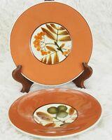 2X Studio Art Pottery Plate Herman Kahler HAK Denmark: Fall Autumn Leaves Orange