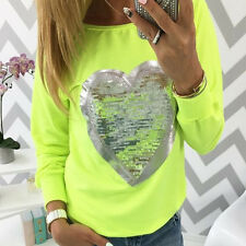Womens Glitter Casual Long Sleeve Tops Shirt Ladies Loose T-shirt Blouse UK 6-14