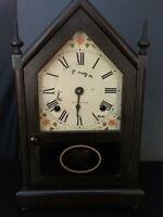 Seth Thomas Steeple Dark Brown Wood Clock 14 1/2 x 8 1/2  Good Running Condition