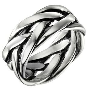 Elements 925 Oxidised Sterling Silver Heavyweight Men's Plaited Band Ring