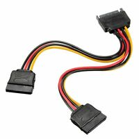 SATA Power 15-pin Y-Splitter Cable Adapter Male to Female for HDD Hard Drive New