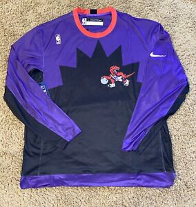 Nike NBA Toronto Raptors HWC Nights Long Sleeve Shooting Warm Up Shirt Large