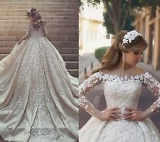 Wedding Dresses Gorgeous Sheer Neck Lace Long train and Sleeves Crystals Ruffles