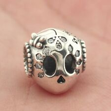 925 Sterling Silver Sparkling Sugar Skull Charm Bead Fit European Bracelet New