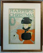 VINTAGE 1896 ED PENFIELD HARPER'S CHRISTMAS ADVERTISING LITHOGRAPH POSTER SIGN