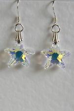 Star Fish Starfish Swarovski Elements Sterling Silver 925 Earrings Crystal Ab