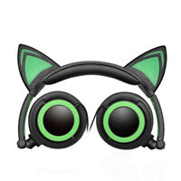Foldable Cat Ear LED Music Lights Headphones Gaming Headset Earphone Flashing