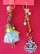 BETSEY JOHNSON HANGING NAUTICAL BOOST SAILOR SKULL & ANCHOR MISMATCH EARRINGS