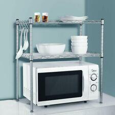 Edelstahl 2 Ablage Küchenregal Mikrowellenhalter Küchenschrank Standregal Silber