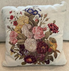 """FLORAL PATTERN NEEDLEPOINT PILLOW WITH BRAIDED TRIM 18"""" SQUARE - INSERT INCLUDED"""