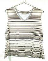 Croft & Barrow Womens Stretch Tank Top White & Brown stripes Size XL