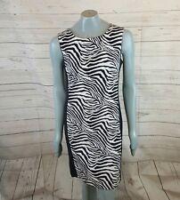 Connected Apparel Zebra Print Dress Size 8 Sleeveless Slimming Panel. C28