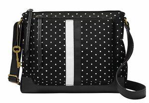 FOSSIL Jenna Crossbody Bag Umhängetasche Tasche Dot Schwarz Neu