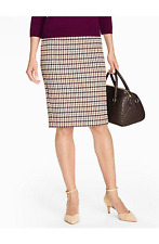 NEW $109 TALBOTS Mulberry,Ivory Classic Check Pencil Skirt Sz 8P,8 Petite
