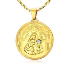 Gold Stainless Steel Drill CZ religious virgin Mary Round pendants Necklace 24''