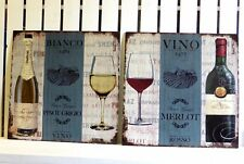 PAIR RED AND WHITE WINE SIGNS PINOT GRIGIO MERLOT VINTAGE RETRO METAL PLAQUES