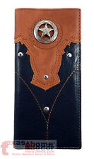 Western Bi-Fold Rodeo Men's Wallet Faux Leather Star Concho Studs Black Brown