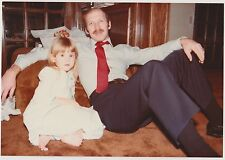 Vintage 80s PHOTO Dad Man In Dress Clothes Tie w/ Little Daughter Girl On Couch