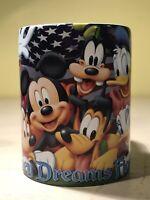 Disney Dreams Florida Collectible Coffee Mug • Mickey Minnie Goofy Donald Pluto