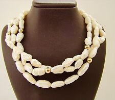 3 Reihige Keshi Zuchtperlen Perlenkette Kette 925/- Silber Schloß 47cm