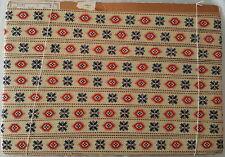 Antik:uralte feine Muster Borte Rot-Blau-Creme gekettelt  100% BW 22mm VOR 1900