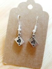 Playing Cards Hearts Diamonds Play Gift Jewellery Silver Plated Dangle Earrings