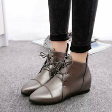 Women Casual Shoes Pointy Toe Flat Heel Ankle Boots Lace Up Patent Leather Shoes