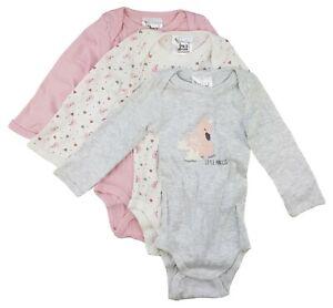 3er Set Baby Mädchen Body Langarm Unterwäsche Rosa Creme  68 74 80 86 92 98 104