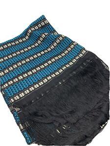 Vtg Boho textile Table runner hand-woven table runner Indigo Turquoise & Black