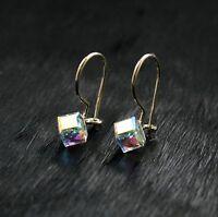 9ct Yellow Gold Earrings Drop Hook Crystal Cube 5mm Ladies/Kids
