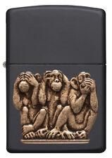 Zippo Feuerzeug Three Monkeys Emblem Katalog 2018 Black matte 60003570