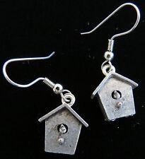 Birdhouse Earrings Antiqued Pewter Bird Houses