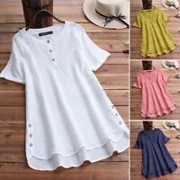 ZANZEA Womens Summer Short Sleeve Tops Holiday Beach Ladies Button Shirts Blouse