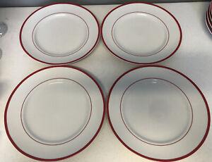 """WILLIAMS SONOMA BRASSERIE SET OF 4 WHITE & RED 11"""" DINNER PLATES"""