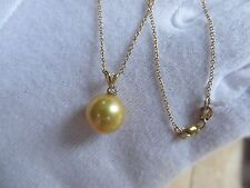 14k Gold Golden South Seas 11mm Pearl w Diamond Pendant Necklace
