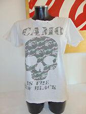 USATO MY Maglietta M Donna T-Shirt Top Girl Bianco Slim Disco Teschio Camo