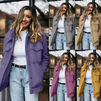 Women's Winter Warm Thick Fluffy Coat Lapel Fleece Fur Casual Jacket Overcoats