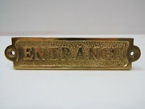 """1+1/4 x 5+1/2 Inch Aluminum Plated With Brass """"ENTRANCE"""" Sign -(B5C298)"""